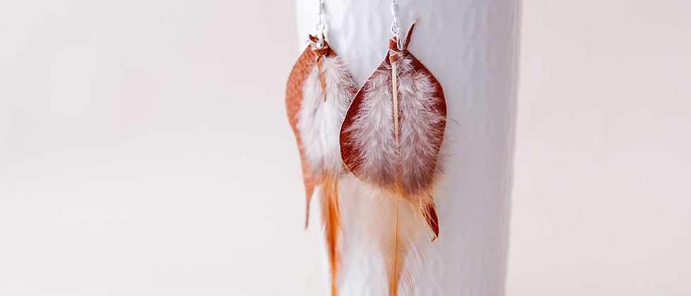 Brown Recycled Leather with Feather Earrings