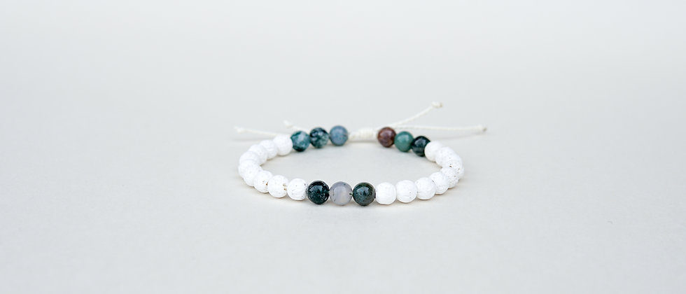Womens White Lava and Green Agate Stone Adjustable String Bracelet