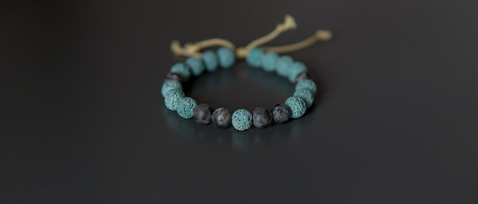 Yellow Kevlar Blue Lava Bracelet