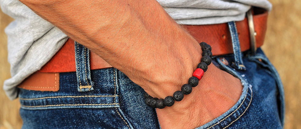 Men´s Lava Bracelet with Red Coral