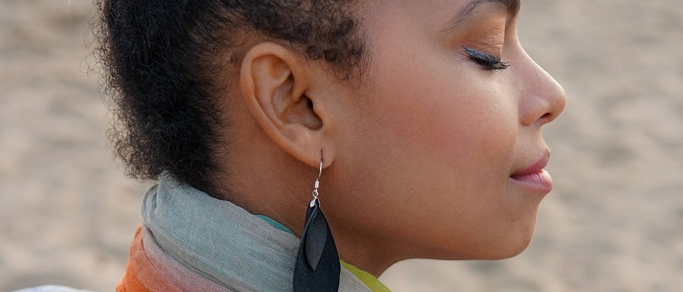 Black Real Recycled Leather Leaf Shape Earrings