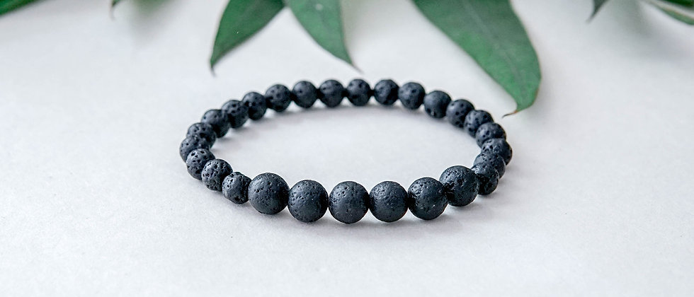 Black Lava Bracelet 6mm and 8mm