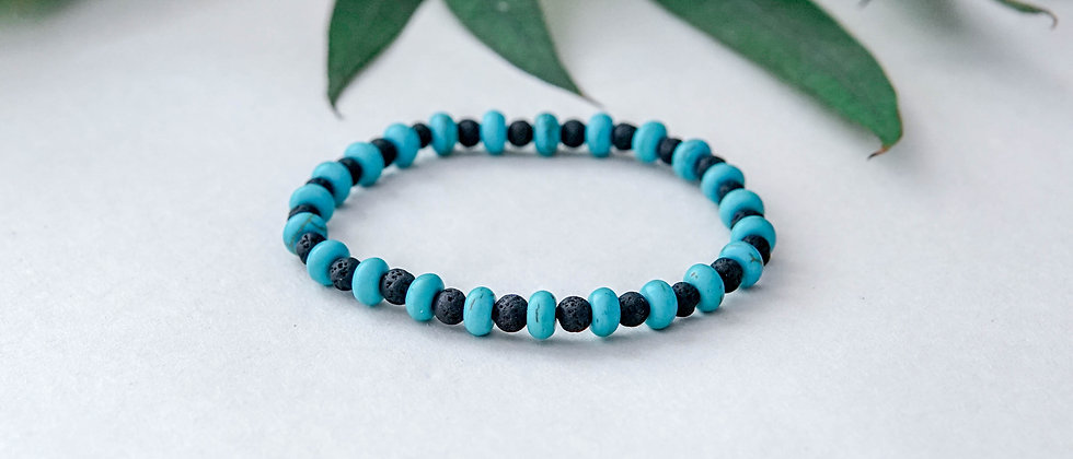 Womans Lava Bracelet with Blue Turquoise