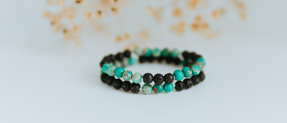 Green Turquoise with Black Lava Set