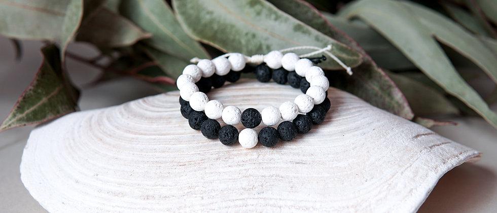 Couple Bracelet Set, White Lava with Black Lava One Bead Accent