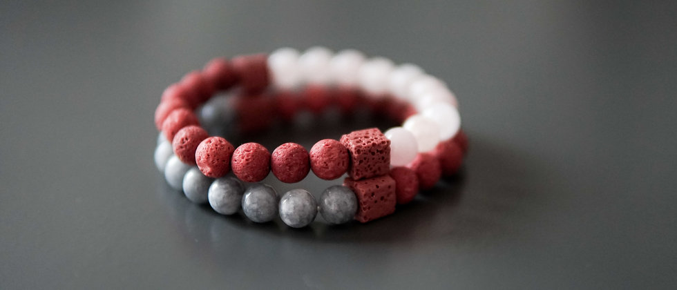 Reddish Lava with Pink and Gray Stone Bracelet Set