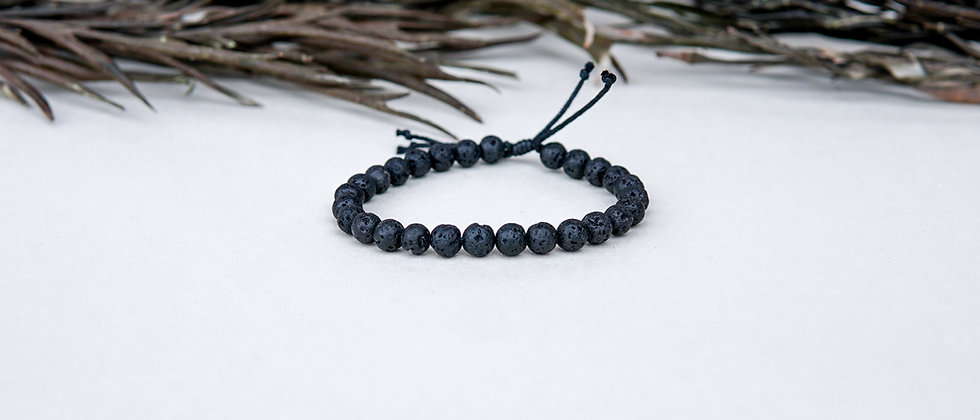 Mens Black Lava on Adjustable Black String
