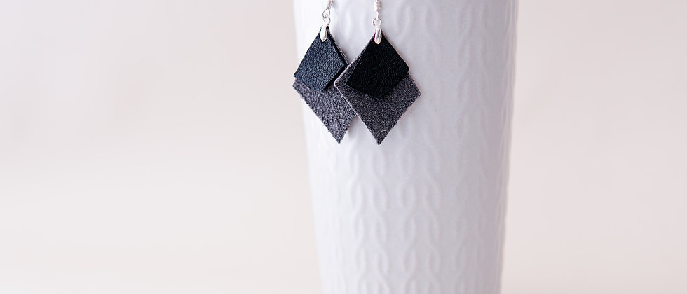 Rhombus Recycled Leather Gray Earrings