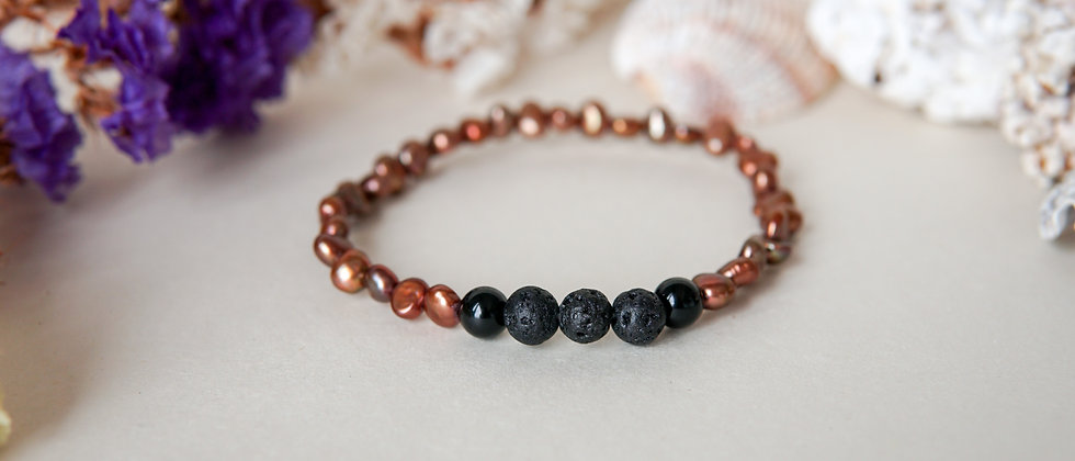 Women´s Bronz Colour River Pearls with Black Lava and Onyx
