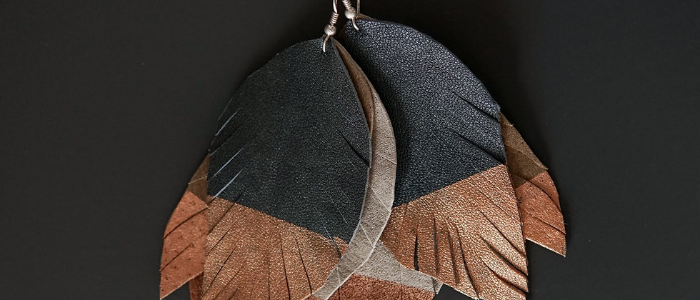 Feather Shape Painted Recycled Leather Earrings