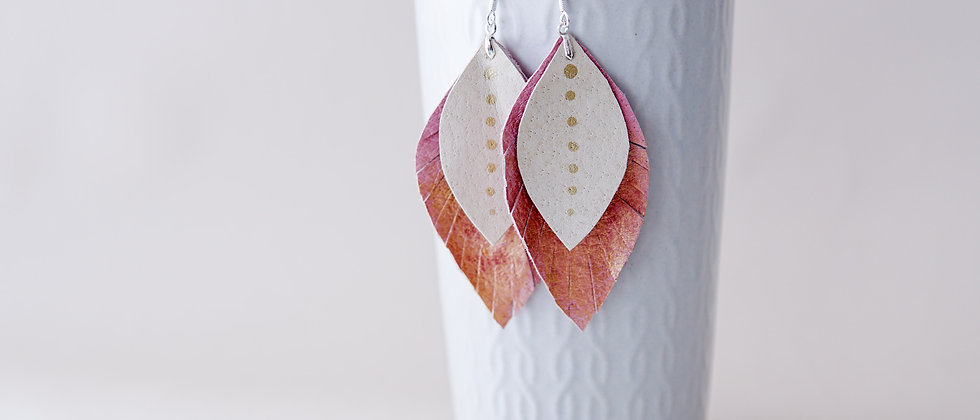 Pink and Cream Colour with Gold Accent Recycled Leather Leaf Shape Earring