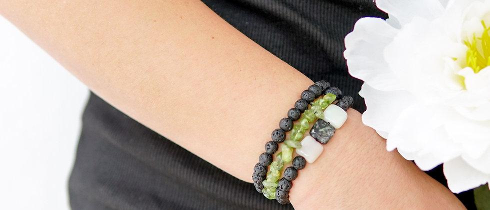 Square Accent Black Lava Bracelet