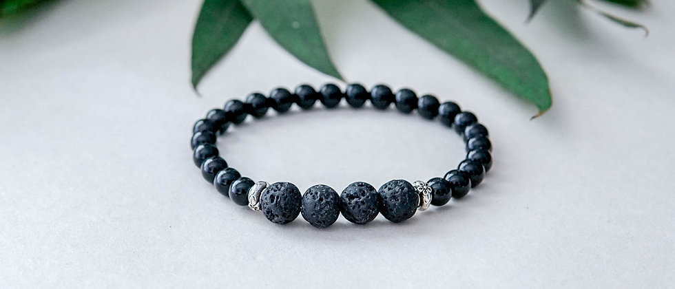 Onyx and Black Lava Bracelet