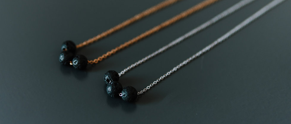 Diffuser Necklace with 3 Lava Beads