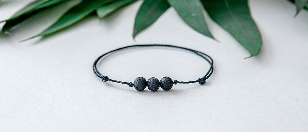 String Knotted Simple Black Lava Bracelet