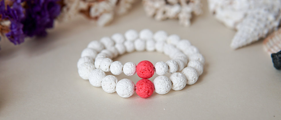 Mom and Daughter Bracelet Set, White Lava Bracelet with Pink Lava Accent