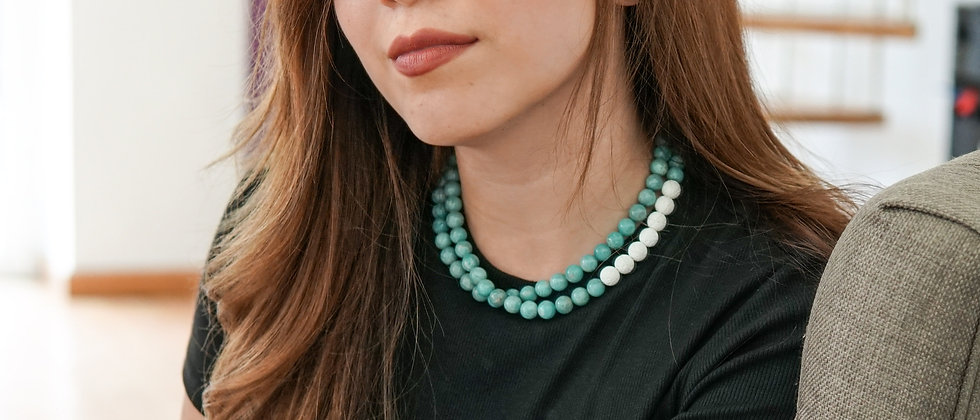 Amazonite Stone Necklace with White Lava Beads