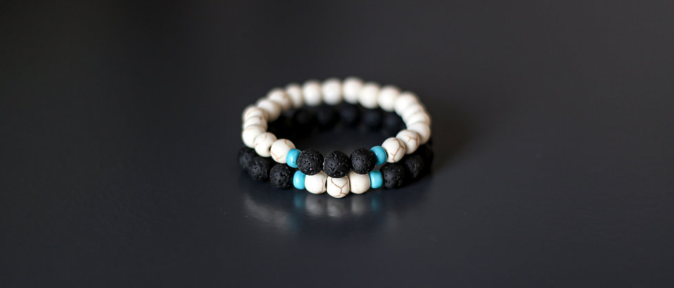 Set of Two Bracelets, White and Blue Turquoise with Black Lava beads