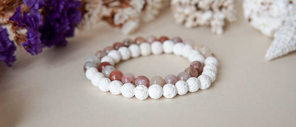 Mom and Daughter Bracelet Set, White Lava with Pinkish Agate stone