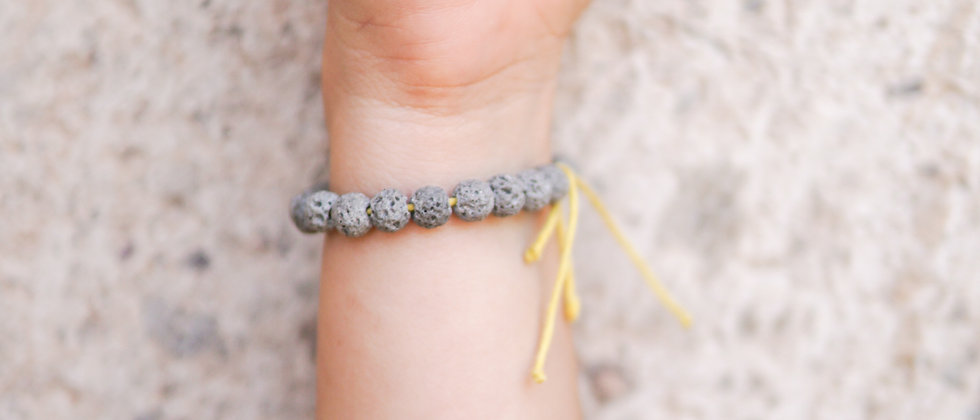 Gray Lava on Adjustable Yellow String