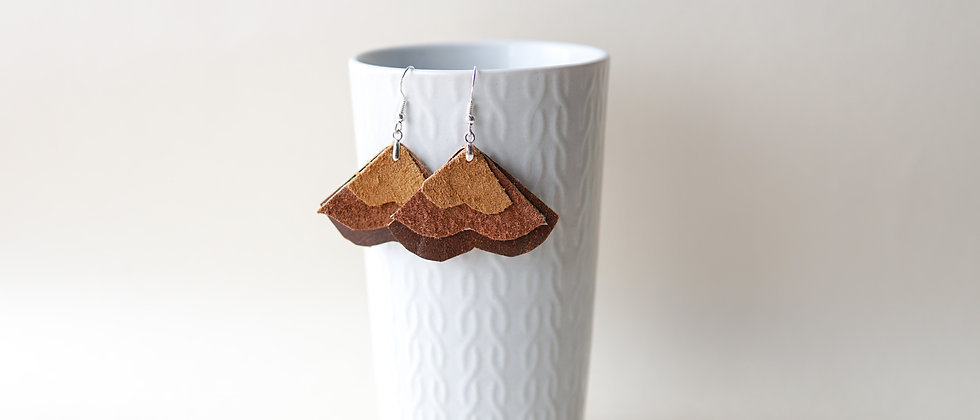 Moustache Shape Earrings from Recycled Leather