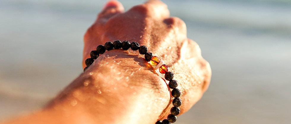 Men´s Lava bracelet Amber and Shell beads