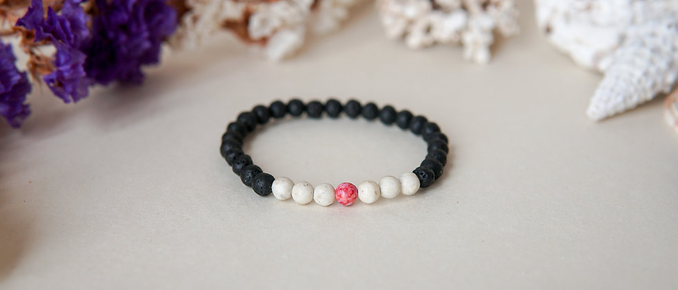 Girls bracelet, Black Lava With White Jasper and One Pink Stone