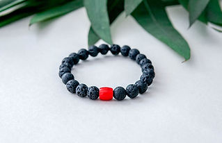 Lava and red coral bracelet] .jpg