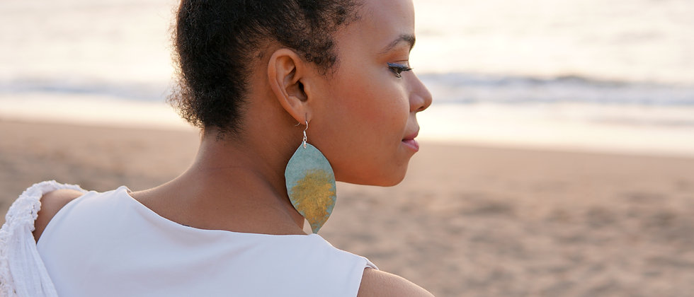 Mint Colour with Gold Accent Recycled Leather Leaf Shape Earrings