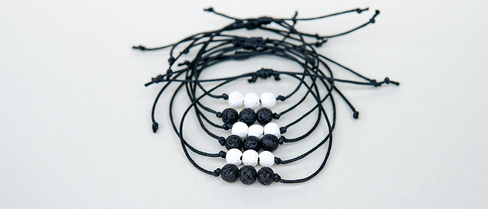 Simple 3 bead Black or White  Lava Bracelet