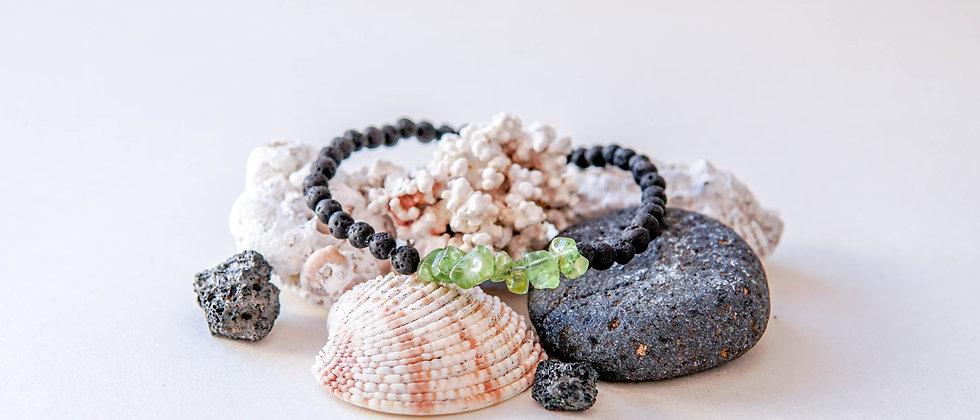 Olivine Stone Bracelet with 4 mm Black Lava