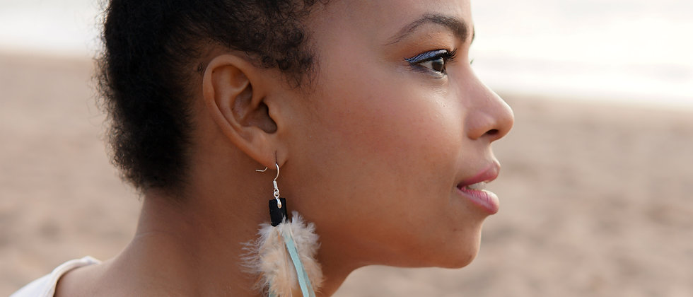 Long Feather, Recycled Leather Earrings