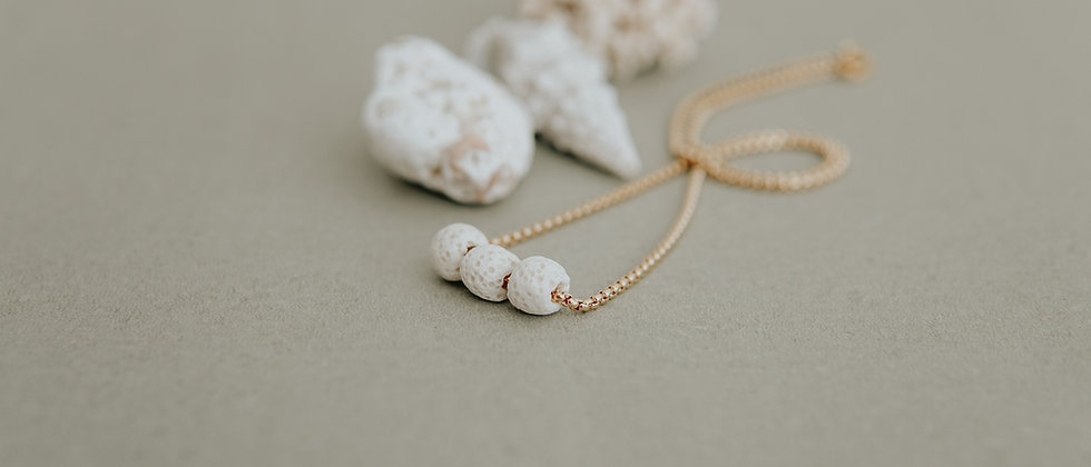 White Diffuser Necklace with 3 Lava Beads