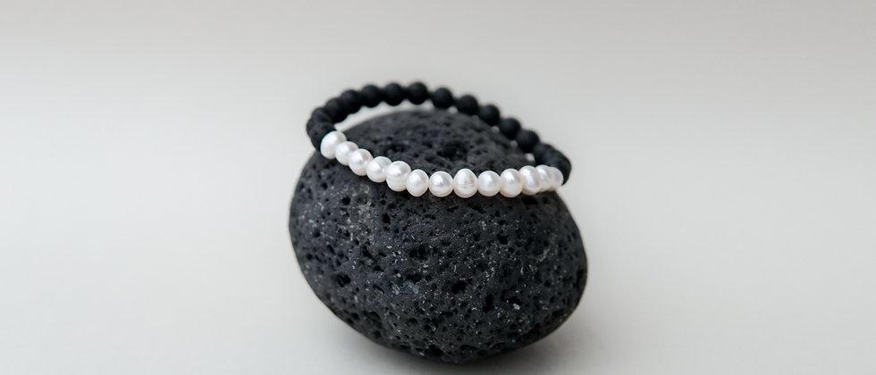 Cream Color River Pearls with Black Lava