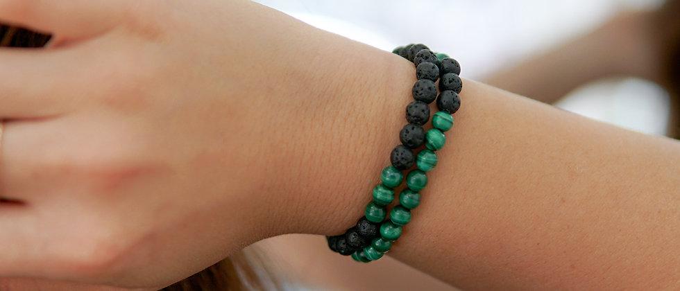 Malachite Bracelet, Green Stone bracelet with Black Lava stone