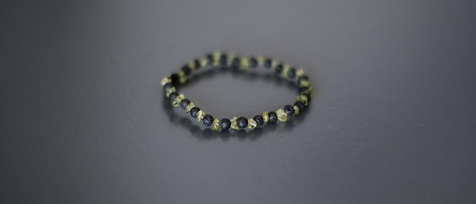 Olivine Stone Bracelet with every second 4 mm Black Lava