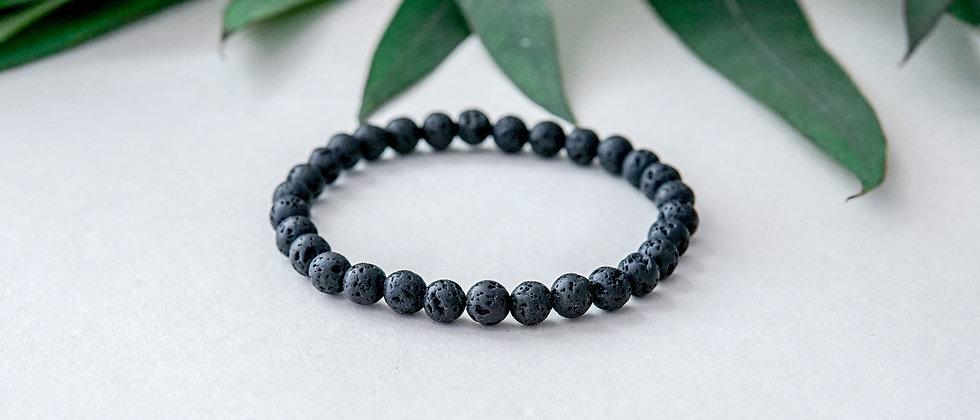 Unisex Simple Black Lava Bracelet 6mm