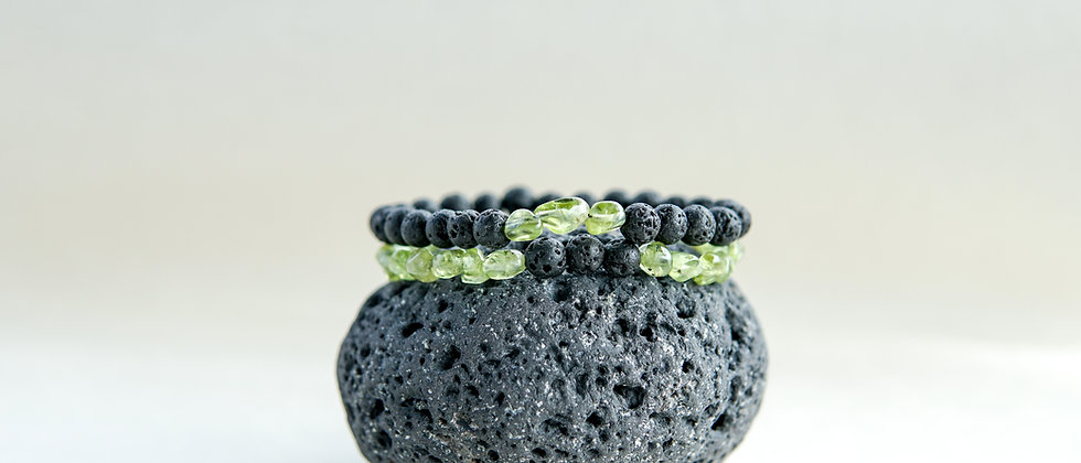 Pair of Olivine Stone Bracelets with Black Lava