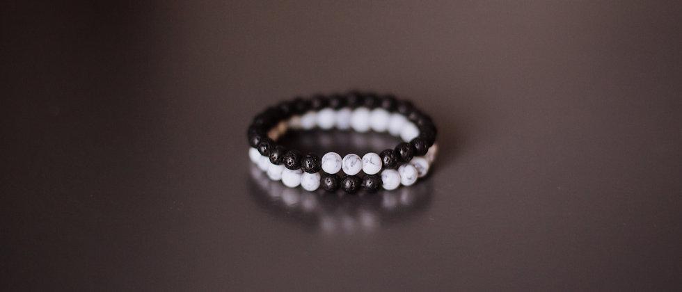 Two Bracelet Set, White Marble with Black Lava