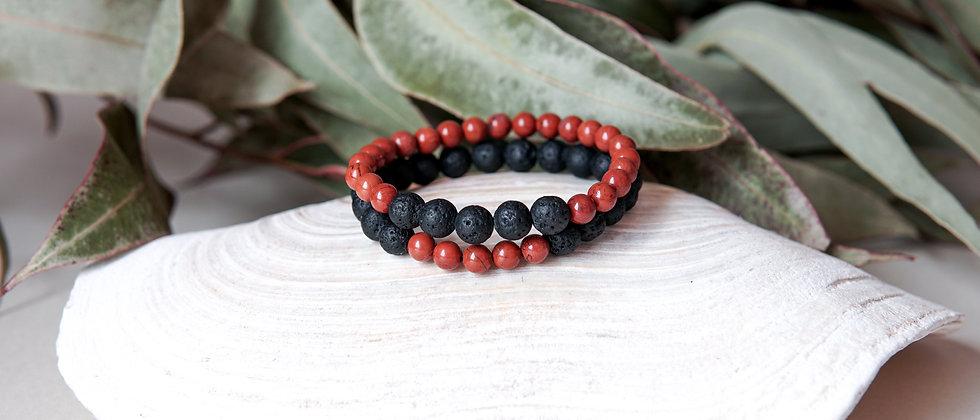 Bracelet Set, Black Lava with Brick Red Jasper Stone