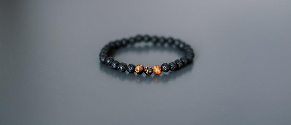 Men´s Black Lava and Tiger eye Bracelet