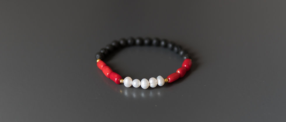 Red Coral with River Pearls