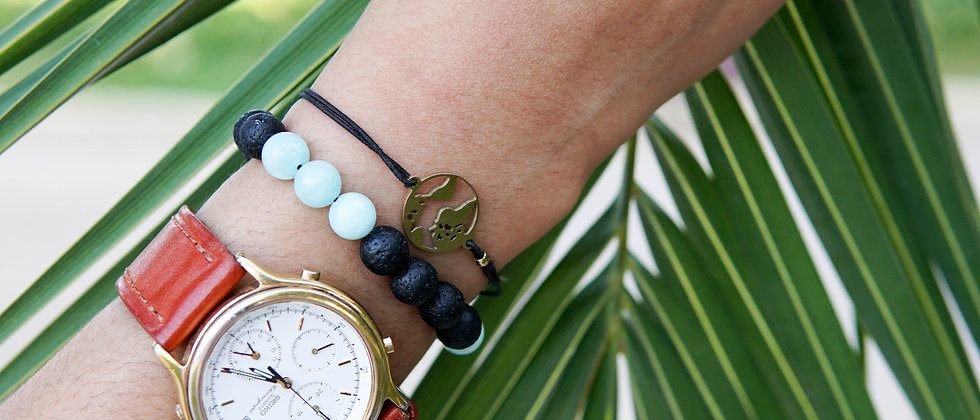 Mint Stone and Black Bracelet