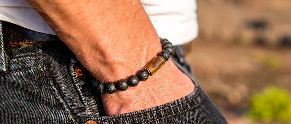 Men´s Lava Bracelet with Tiger Eye