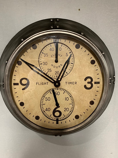 Silver Aviation Clock
