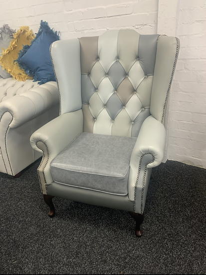 Leather Patchwork Wingback chair