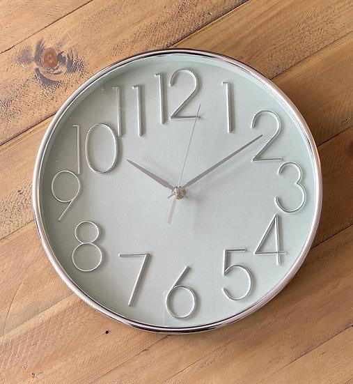Sage Green and Silver Wall Clock