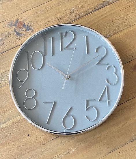 Grey and Silver Wall Clock