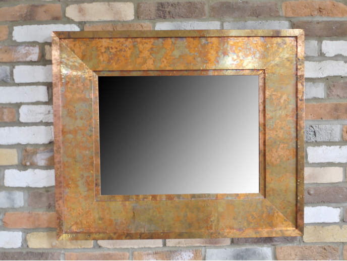 Small Rectangular Copper Effect Mirror