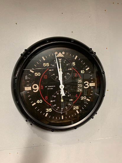 Black Aviation Clock